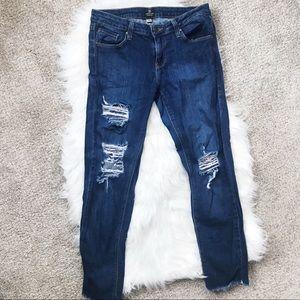 Just Black Distressed Raw Hem Skinny Jeans